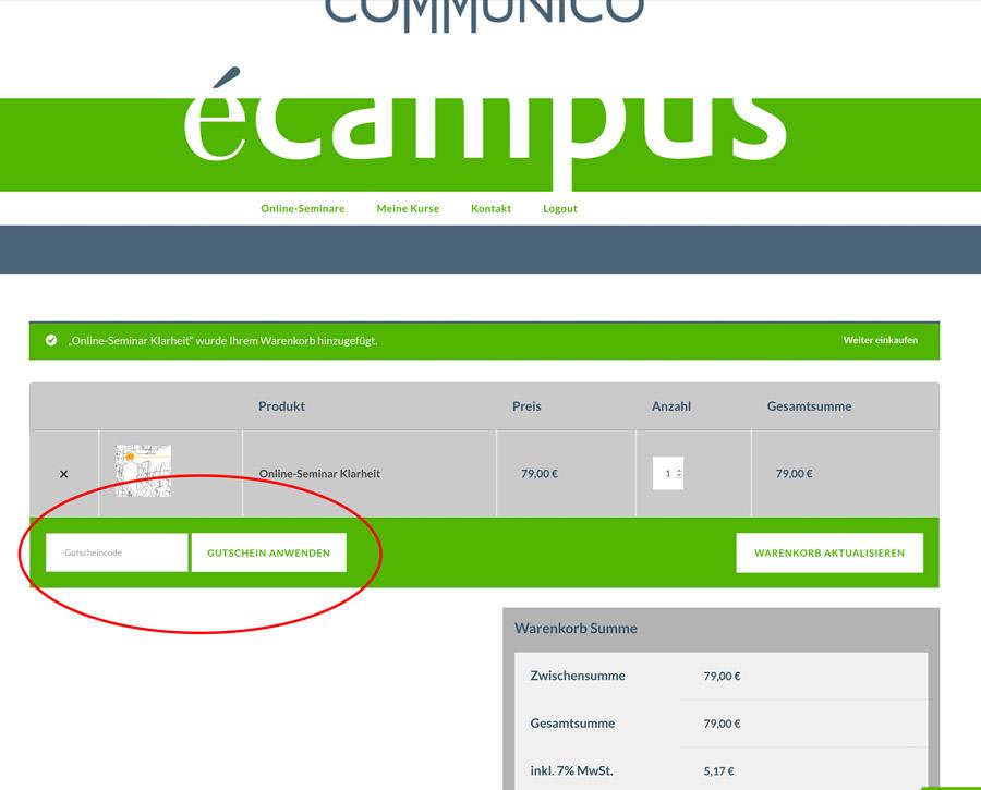 Communico-eCampus-FAQ-Gutscheincode