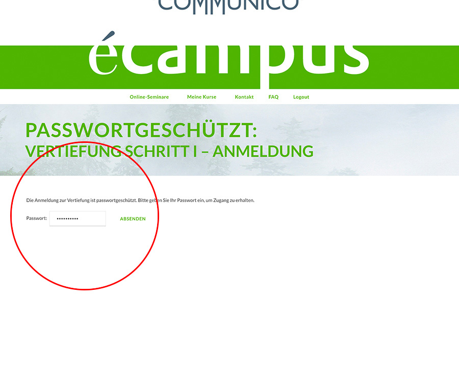 Communico-eCampus-FAQ-Codeeingabe